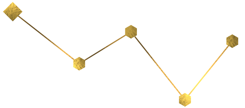 a stylized, golden star constellation