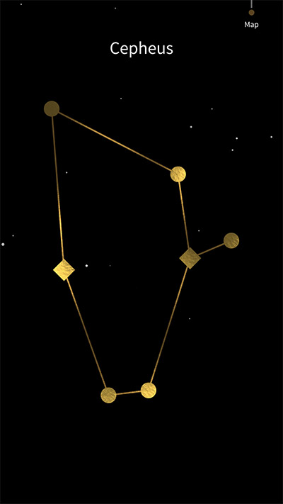 The star constellation Cepheus is the menu to enter puzzles and narrative parts in the game SHIRO